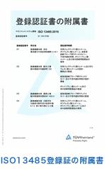 ISO13485登録証の附属書